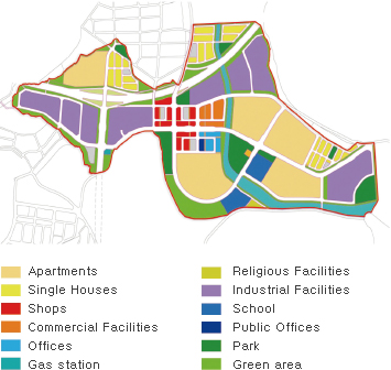 Apartments / Single Houses / Shops / Commercial Facilities / Offices / Gas station / Religious Facilities / Industrial Facilities / School / Public Offices / Park / Green area