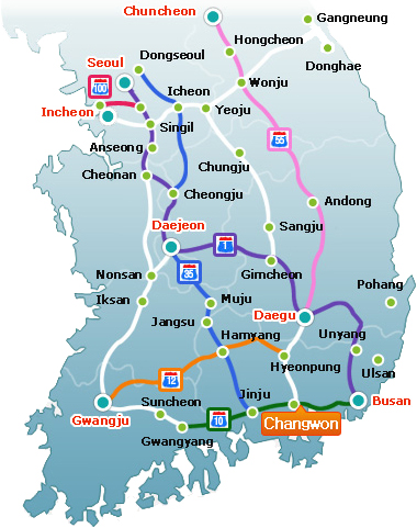 Main national arterials to access to Gyeongsangnam-do